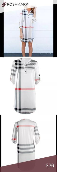 "NEW Nova check plaid tunic tab LS dress Henley NEW. UNLINED. UNBRANDED. LOOKS LIKE BURBERRY. Sleeve can be buttoned as tab or worn long. Material: Cotton polyester Blend Color: White with gray/black/red stripe  Size: M(UK 10) L(UK 12) XL(UK 14)  Size   UK Size      Bust                     Sleeve                  Length M       10             90CM/35.43""      47CM/18.50""        88CM/34.64"" L         12            94CM/37.00""      48CM/18.89""         89CM/35.03"" XL       14…"