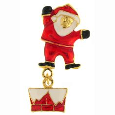 Christmas White & Red Enamel Santa Claus on Chimney Brooch