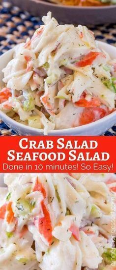 Crab Salad with celery and mayonnaise is a delicious and inexpensive delicious way to enjoy the classic Seafood Salad we all grew up with. Crab Salad (Seafood Salad) - Dinner, then Dessert Judy Bauman jbuaman Salads Crab Salad with celery and mayon Crab Dishes, Seafood Dishes, Seafood Boil, Seafood Appetizers, Seafood Meals, Seafood Pasta Salads, Seafood Linguine, Pasta Dinners, Cheap Dinners