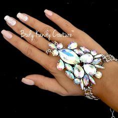 Bollywood Rhinestone Hand Chain Ring Bracelet. Body Kandy Couture, Glamorous Hand Jewelry Hand Bracelet Silver Slave Wedding Cuff Wrap