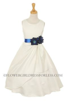 Girls Dress Style 1165- Choice of White or Ivory Dress with Midnight Blue Ribbon and Flower $49.99