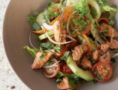 An easy, and action-packed with a fragrant Asian dressing. A great lunch or dinner and the opposite of boring! Asian Dressing, Sandwich Toaster, Baking Items, Salmon Salad, High Calorie Meals, Cooking Appliances, Fun Cooking, Healthy Alternatives, Seafood