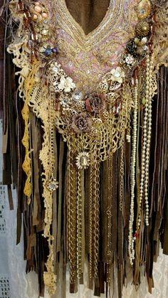 Handmade Brown Suede Leather Fringe Bag Vintage Lace Crochet Hippie Purse tmyers #Handmade #Shortercrossbody
