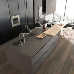Open Dark grey design kitchen by Modulnova