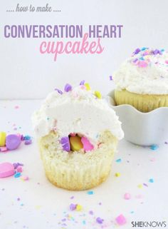 Conversation Heart Filled Cupcakes. This would be even better filled with M&M's!