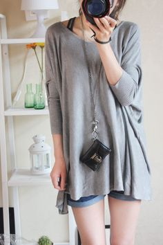 long grey blouse