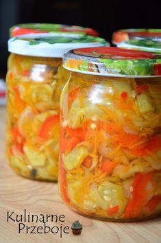 Sałatka z ogórków i papryki na słodko-kwaśno Polish Recipes, Tzatziki, Preserves, Pickles, Mason Jars, Frozen, Food And Drink, Healthy Eating, Tasty