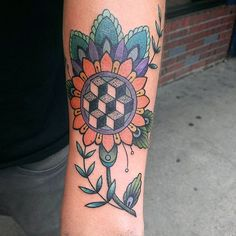 Thank you Dylan for making the drive and getting one of my wanna-dos! #flyingirons #blaqueowltattoo #geometrictattoo #color