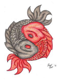 pics of feminine yin yang tattoos   yin-yang koi tattoo design by ...
