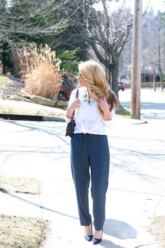 Chic drawstring pants + a classic blouse. Get Sydney's, of Summer Wind, look.