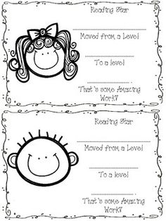 Simple Certificate for students who are moving through the Guided Reading Levels. I have a ton of them printed so they are ready to go when students move to a new level. It is just a cute way to communicate with parents that their child is growing and an easy smile to put on your students face.