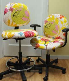 Not a fan of the fabric, but it talks about how to recover office chairs.