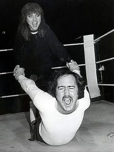 When Debbie Harry wrestled Andy Kaufman, 1983.  Some questioned his ethics for wrestling women...but not me.