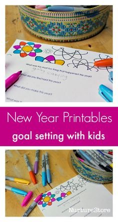 Free new year printables for goal setting with kids :: new year interview printable :: news years eve with kids