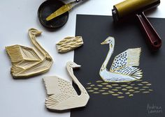 using some white and gold inks on text weight French Paper.   IG: @inkprintrepeat Linocut Artists, Origami Swan, Stamp Carving, Handmade Stamps, Linoprint, Stamp Printing, Tampons, Surface Pattern Design, Fabric Painting