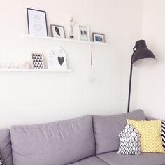 Shelves, hektar lamp Ikea, grey couch