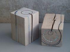 Bloc Light Wooden Stump Blue Art Sculptures Stumps as art furniture or sculptures