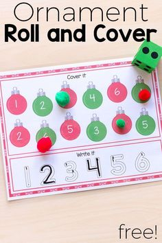 Christmas ornament math center activities. These roll, cover and write mats are fun and effective! #Christmas #math #Christmasforkids #numbersense