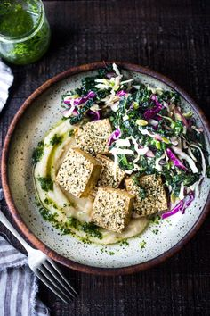 Hemp Crusted Tofu with Celeriac Puree - a simple, elegant vegan dinner that can be made in 45 minutes. Serve it with Gremolata and Everyday Kale Salad. Tofu Recipes, Whole Food Recipes, Healthy Recipes, Veggetti Recipes, Vegan Gluten Free, Vegan Vegetarian, Vegetarian Recipes, A Food, Food And Drink