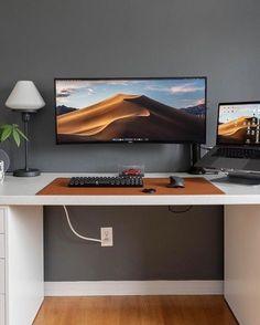 Home Office Setup, Home Office Space, Home Office Desks, Gaming Room Setup, Desk Setup, Workspace Desk, Bedroom Setup, Game Room Design, Workspace Inspiration