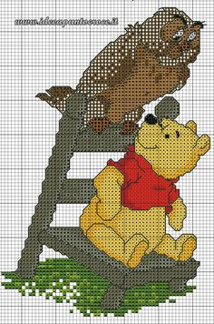 schema winnie the pooh punto croce Cross Stitch For Kids, Cross Stitch Baby, Modern Cross Stitch, Counted Cross Stitch Patterns, Cross Stitch Embroidery, Disney Stitch, Winnie The Pooh Friends, Disney Winnie The Pooh, Disney Disney