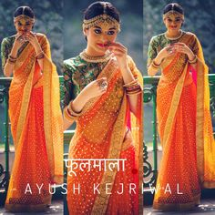 Ayush Kejriwal has the best sarees for you. This orange sequins saree is from his latest collection #Frugal2Fab
