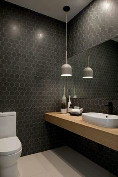 Image result for black hexagon tiles on wall bathrooms