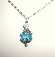Glass Bead Blue Pendant Necklace by GardenGemsJewelry on Etsy, $18.95