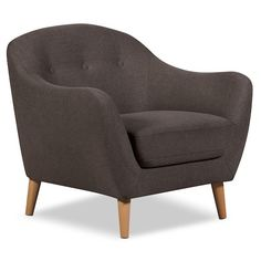 Living Room Furniture - Calla Linen-Look Fabric Chair – Dark Grey