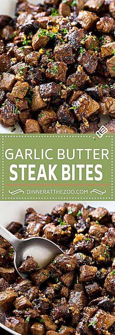 Steak Bites in Garlic Butter Recipe Garlic Steak Sirloin Steak Recipe Steak Appetizer # Sirloin Steak Recipes, Sirloin Steaks, Beef Steak, Meat Recipes, Dinner Recipes, Cooking Recipes, Healthy Recipes, Crockpot Recipes, Steak Butter