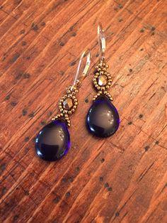 Cobalt blue beaded earrings, blue earrings, cobalt blue bead earrings