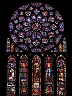 Photographic Print: Rose Window, Stained Glass Windows in North Transept, Chartres Cathedral, UNESCO World Heritage Sit by Nick Servian : 24x18in