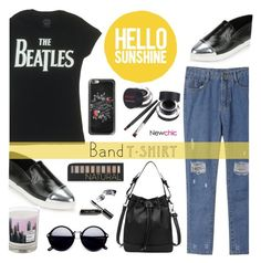 """LoveNewChic - I'm with the Band"" by dora04 ❤ liked on Polyvore featuring Bobbi Brown Cosmetics, Casetify, Forever 21, Maison La Bougie, bandtshirt and bandtee"
