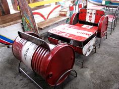 Pertamina fuel drums converted into furniture in Bali, Indonesia. #recycling #upcycling #kreatif #creative #redwhite #merahputih