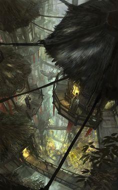 ArtStation - Canopy Griffon Village, Yong Yi Lee