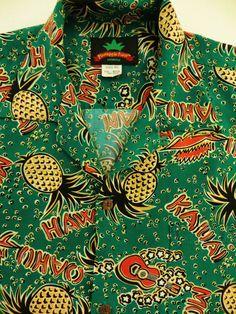 Vintage Hawaiian Shirt Ukuleles Pineapples Leis by TomCatBazaar