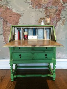 SOLD ** Beautiful Antique Writing Bureau - Shabby Chic -  C19th  - Antibes Green & Gold