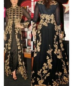 Kareena kapoor's beautiful  black and gold floor-ankle long length anarkali frocks suits - with front & back full work