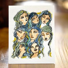 Girl Group Clear Stamps Artomology Collection by Jane Davenport Poppy Images, Fashion Illustration Collage, Face Stencils, Alcohol Markers, Watercolor Cards, Ink Painting, Clear Stamps, Altered Art, Creative Art
