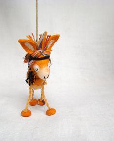 Enola - Felt Donkey. Art Toy Felted Marionette Animals Toys Native Tribal. orange sunny halloween . MADE TO ORDER