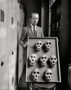 "Washington, D.C., circa 1927. ""NO CAPTION (man with skull display)."" Friends of the family, no doubt. Harris & Ewing Collection glass negative. Prints from $15."