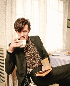 A book, a cup of tea, and a Time Lord... (aka the Doctor, Matt Smith).