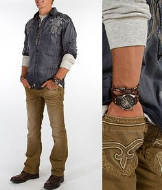 I absolutely love everything about this look.The wash detail in both the Roar top and Rock Revival Slim boot jean bring almost a worn in vintage feel to the overall look. I was hesitant to add another khaki denim into my wardrobe, but the fit on this Rock and the detailed hits all around really make this jean one of my favorites. The details in the layering, accessories and fabrications are key to pulling this look off.
