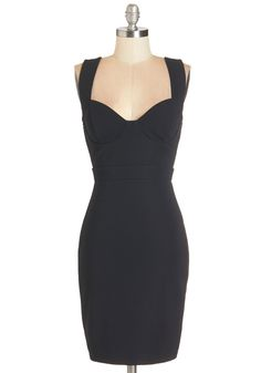 All the Vixens Dress - Mid-length, Black, Solid, Cocktail, Girls Night Out, LBD, Bodycon / Bandage, Sleeveless, Knit