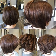 New hair cuts layers curly beautiful ideas Bob Hairstyles For Thick, Bob Haircuts For Women, Layered Haircuts, Hairstyles Haircuts, Short Hair Back, Short Hair Cuts, Pinterest Hair, Hair Affair, Hair Pictures
