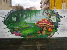 by: LimbO & HecK (Castellar del Vallés, Barcelona) Graffiti Art, Amazing Street Art, 3d Street Art, 3d Street Painting, Pavement Art, Fence Art, Hand Art, Animation, Urban Art