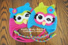 Winky the Owl hat - free crochet pattern in several sizes from 3 months to 5 years - from cre8tioncrochet