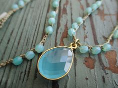 Seafoam aqua crochet necklace  Sea Dreamin'  gold por slashKnots