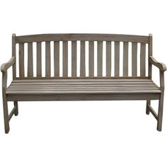 Perfect along the walkway or overlooking your garden, this acacia bench features a slatted design and gray finish.   Product: B...