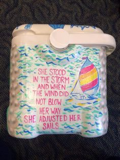 Lilly Pulitzer inspired painted cooler